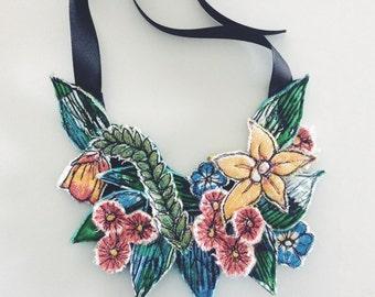 Australiana - wildflower - necklace - floral - neckpiece - thread drawn