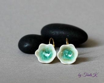"""Porcelain Handmade Earrings with golden hooks """"GoldenTurquoise"""", Bell flower earrings, green turquoise earrings, ceramic earrings, for her"""