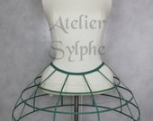 Green color Crinoline hoop cage skirt pannier 4 rows elastic waist simple cage