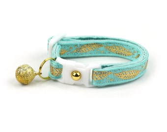 Feather Cat Collar - Metallic Gold Feathers on Aqua - Small Cat / Kitten Size or Large Size - Woodland - Boho