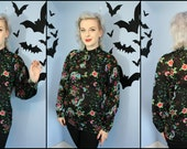 Vintage Womens 70s 80s Novelty Dragon and Floral Print Blouse by Nitya Modern Size Medium Large 1940s Inspired Style