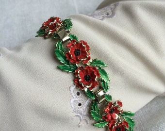Very Rare Vintage EXQUISITE Poppy Birthday Bracelet - August