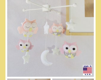 Baby Mobile, Owl Mobile ,Baby Girl Mobile,Nursery Room Decor, Pink and Gray Nursery, White Moon and Stars Mobile, Custom Mobile