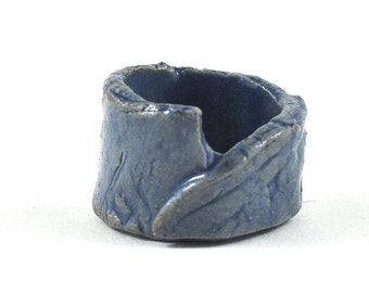 Unisex Ceramic Ring Stoneware Handmade Jewellery Rustic Blue in Gift Pouch Gift for Him or Her