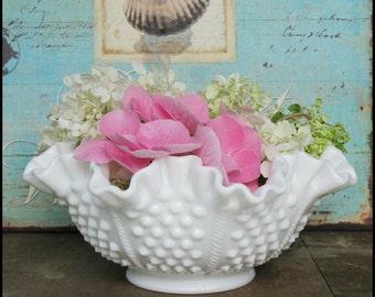 Fenton Milk Glass Hobnail Bowl / Vintage Milk Glass Centerpiece / Wedding Decor / Gift Idea