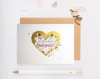 Scratch Off Will You Be My Bridesmaid Card, bridesmaid proposal, gold, will you be my maid of honor, wedding, gold heart
