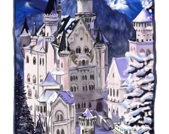 Neuschwanstein Castle, Germany, A4 Fine Art Drawing Print