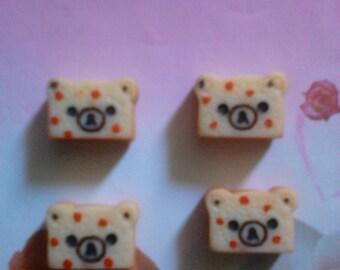 kawaii bear toast decoden deco diy cabochons   4 pcs---USA SELLER