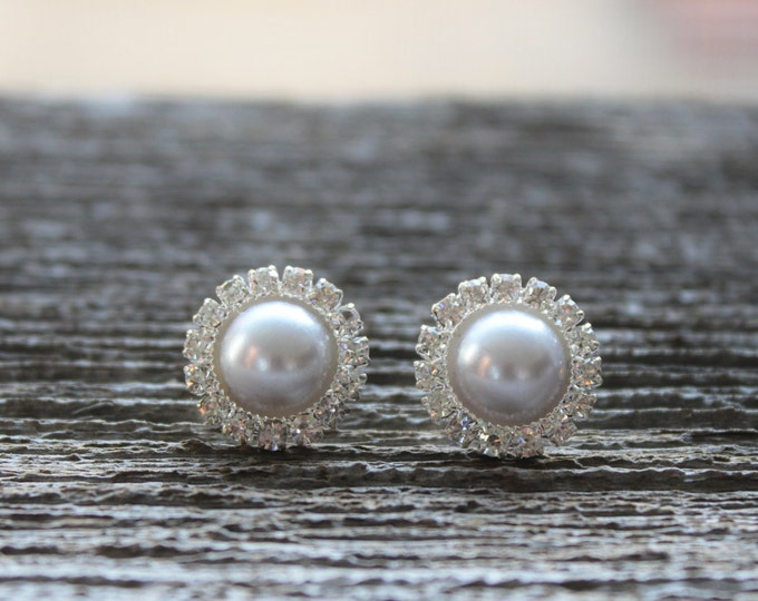 Bridesmaid Earrings, Pearl Earrings, Rhinestone Earrings, Silver Pearl Wedding Jewelry, Silver Pearl Bridal Jewelry, Silver Bridesmaid