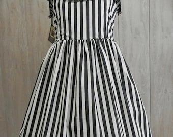 Black and White Strippes Lolita Dress, Steampunk Jsk, Ready to ship
