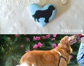 Golden Retriever Necklace, New York Sky Blue Heart With Golden Retriever Sterling Silver Porcelain Necklace, Porcelain Jewelry, Gift for her