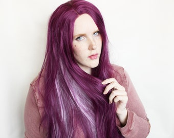 SALE Lace Front wig | Long Purple wig | Straight purple, halloween wig, cosplay wig | Purple wig | Hyacinth Jewel