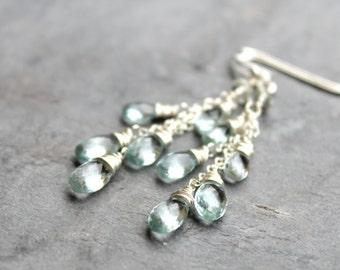 Aquamarine Earrings, March Birthstone Earrings, Aqua Blue Gemstone Earrings, Sterling Silver Waterfall Cascade