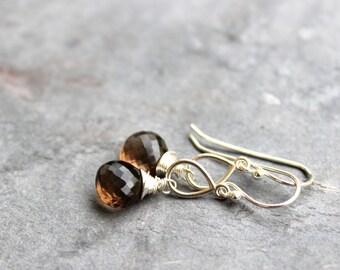 Smoky Quartz Earrings Sterling Silver Brown Stone Teardrop Gemstone Earrings Petite