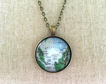 Globe Necklace Malaysia Singapore Travel World Map Wanderlust Unique Gift for Traveler