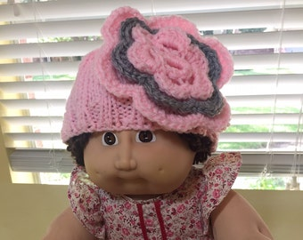 Pink Flower Baby Hat / 0-3 Month / Pink & Gray Flower Embellishment / Handmade Crochet / Handmade Knit / Baby Shower Gift / Baby Photo Prop