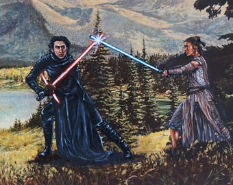 Kylo vs Rey. Print on 11 x 17 in paper.