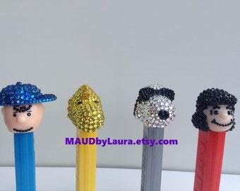 Charlie Brown, Woodstock, Snoopy, and Lucy Swarovski rhinestone encrusted Pez Dispensers