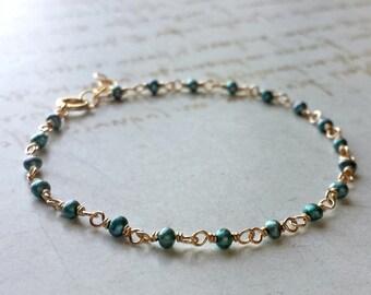 Teal Pearl Bracelet, Tiny Pearl Bracelet, Blue Green  Pearl, Seed Pearl Anklet, Teal Anklet, Minimalist Pearl Bracelet, Dainty Pearls