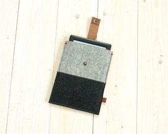 IPAD MINI black and grey case - felt with leather closure