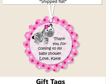 Pink Baby Girl Zebra Baby Shower FAVOR TAGS or Gift Tags, Zebra Birthday Party Decorations- Invitation, Cake Topper, Cupcakes, Invite