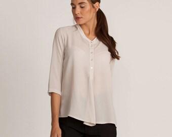 Off white shirt, button down blouse, collar white top, winter top, button down blouse, loose fit white shirt, winter sale, round neck blouse