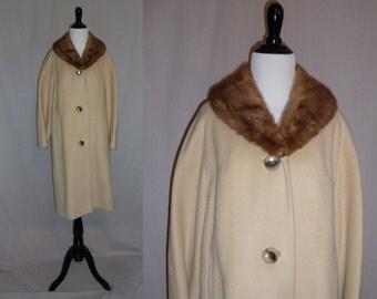 50s Wool Coat - Fur Collar - Shades of Brown - JL Hudson Co. Detroit - Vintage 1950s - L