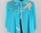 Vintage 50's 60's Bed Jacket Turquoise Nylon Duck Applique with Rhinestones