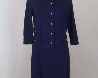 Vintage 60's Women's Suit 2 Piece Boxy Jacket Straight Skirt Navy Blue Knit with Pearl Buttons Size L / XL
