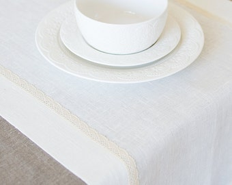 Table Runner White Linen Runner Wedding Table Decor Bridal Shower Decor Lace Table Runner Baby Showe Decor Linen White Tabletop Decor