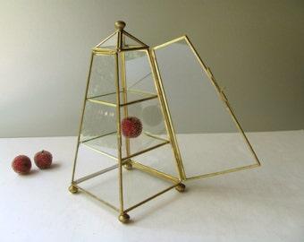 Vintage Glass and Brass Box Display Case Curio Shelves Angled Pyramid Ball Top Front Pin Hinge Storage Jewelry Trinket Figurine Treasure Art