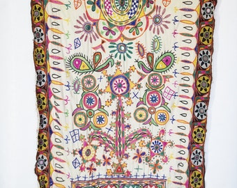 Indian Tapestry with Embroidery and Mirrors