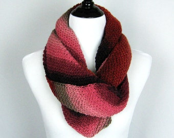 Cowl, Infinity Scarf, Hand Knit, Wool Silk Mohair Blend, Handmade, Gift, Cozy Wrap, Winter Wear, Black, Burgundy, Taupe, Pink, Elegant Wrap
