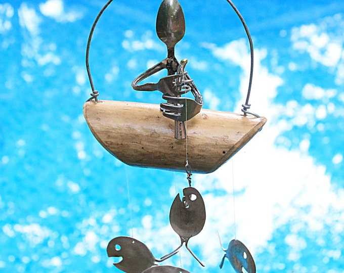 Minature Man Fishing Wind Chime, Fairy Garden Art Figurine Figures, Window Dressing Treatment, Old Weathered Screen Porch Barn Decorations