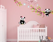 Panda wall decals with Cherry Blossom Branches and Butterflies, reusable kids wall decals, nursery decals
