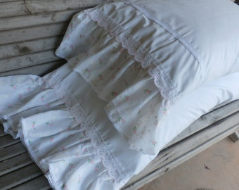 Shabby Chic Pair  White Cotton Pillowcase set  -PAIR - Queen 34 x 20 plus  8 inch Pink Rosebuds Ruffle
