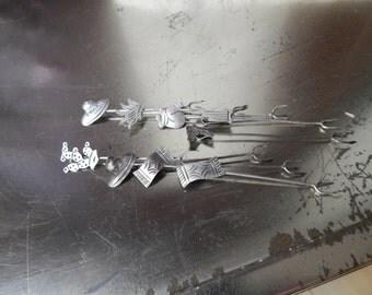 Vintage Solid STERLING 925~Southwestern~Mexican~Set of 9~Hor DeVours Forks~Picks