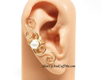Swirly Gold Ear Cuff with White Glass Pearl