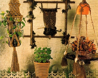MAD ABOUT MACRAME Owls Pot Hangers Jewelry Wall Hangings Home Accessories 1975