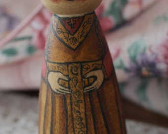 Wood Peg Doll Princess (golden dress) - watercolored large size 3.5""