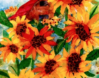 Colorful Watercolor Collage of Barn and Sunflowers by Colorado Artist Martha Kisling