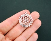 BULK 20 Flower of Life Charms Antique Silver Tone Sacred Geometry Pendant Charm - SC5937