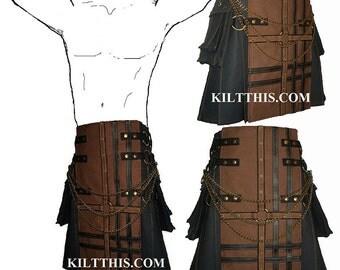 Interchangeable Black Brown Canvas Cargo Utility Kilt Black Leather Double Cross Custom Fit Adjustable Many Options