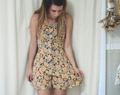 sunflower print vintage romper, small extra small