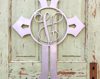 Sample Sale- letter V- Cross Monogram- Wooden Letter, Interlocking Script, Door Hanger Wreath- 1 available- painted silver