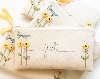 Sunflower Wedding Clutch, Yellow Bridesmaid, Personalized Bridesmaid Gift, Sunflower Purse, Yellow Wedding MADE TO ORDER