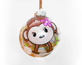 Baby's First Christmas Baby Monkey Hand Painted Christmas Ornament 4 inch Glass Baubles Personalized with Baby's Name Date Weight and Time