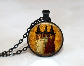 Halloween Jewelry Halloween  Necklace Glass Tile Necklace Witch Jewelry  Black Necklace Glass Tile Jewelry  Holiday Jewelry Black Jewelry