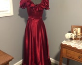 Reserved for Lavinia ...Red Satin Gone With the Wind, 1875 Civil War Style Dress