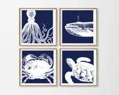 Navy Beach Art Prints , Nautical Nursery Art , Whale Crab Wall Art ,  Octopus Wall Art , Navy Ocean Beach Square Art , Nautical Nursery Art